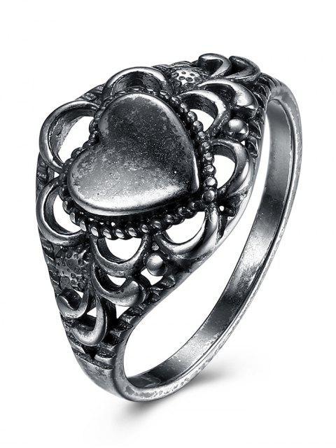 Alloy Retro Heart Finger Ring - SILVER 9 Mobile