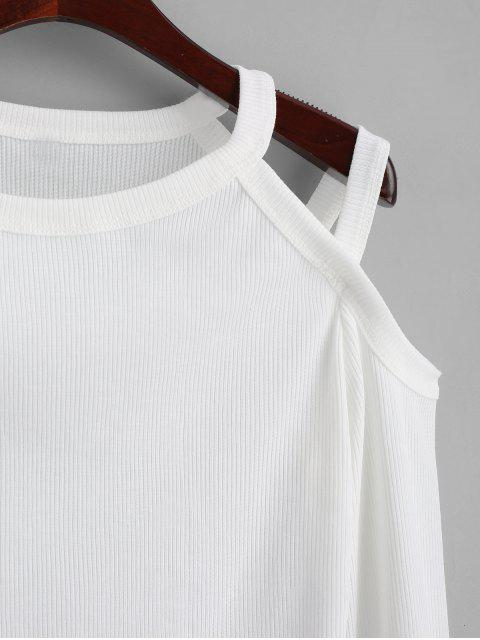 shop Cold Shoulder Ribbed Knitted Top - WHITE M Mobile