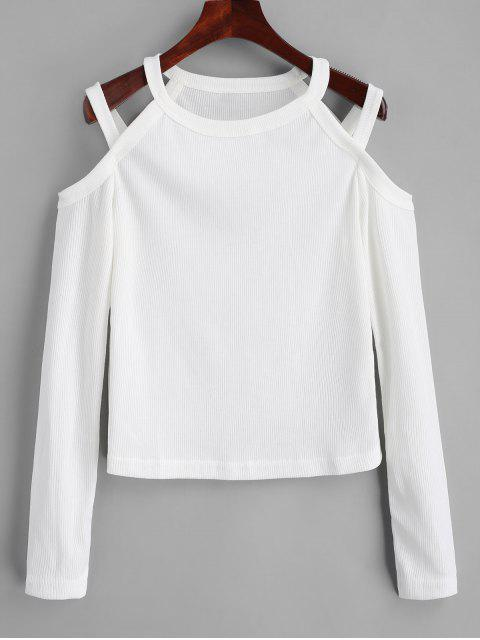 latest Cold Shoulder Ribbed Knitted Top - WHITE XL Mobile