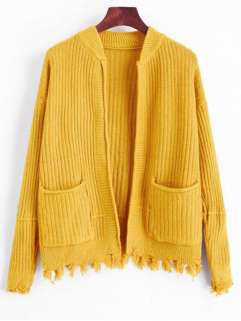 unique Ripped Hem Open Cardigan with Pockets - YELLOW ONE SIZE Mobile