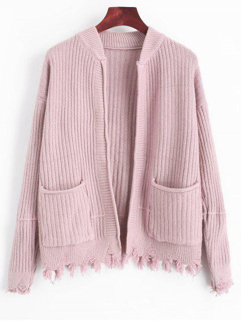 sale Ripped Hem Open Cardigan with Pockets - LIGHT PINK ONE SIZE Mobile