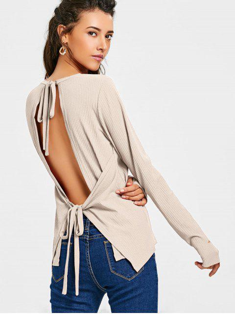 womens Tied Open Back Thumbhole Knitted Top - APRICOT S Mobile