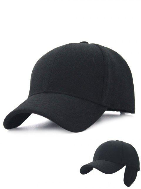 womens Winter Line Embroidery Earmuffs Baseball Cap - BLACK  Mobile