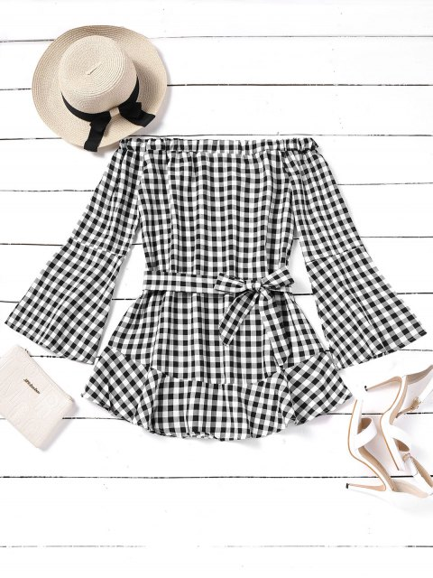 new Belted Plaid Off Shoulder Mini Dress - CHECKED XL Mobile