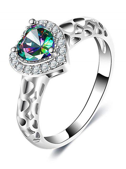 Diamante artificial Hollow Out Heart Ring - Plata 9 Mobile