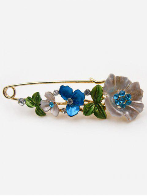 Alfiler de broche de diamante falso flor - Azul  Mobile