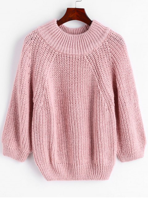 women's Pullover Raglan Sleeve Chunky Sweater - PINK ONE SIZE Mobile