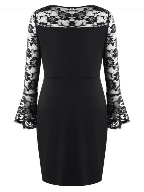 affordable Plus Size Lace Insert Cut Out Mini Dress - BLACK 2XL Mobile