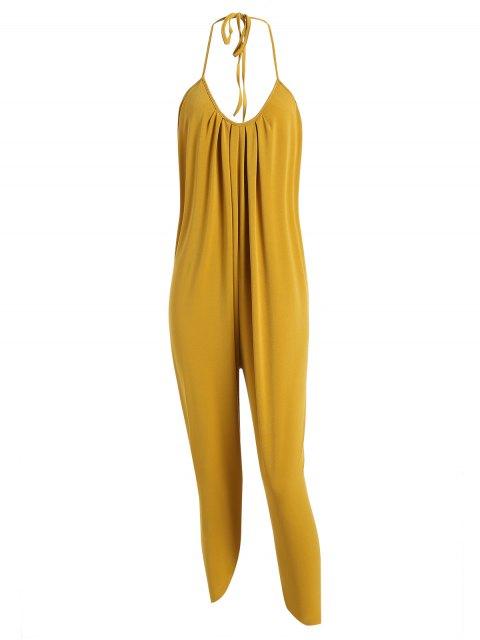 shop Halter Drawstring Backless Jumpsuit - MUSTARD XL Mobile