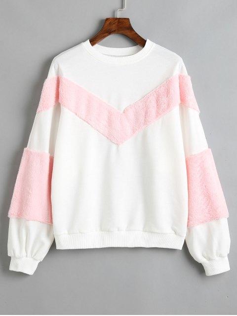 Kontrast Textured Panel Sweatshirt - Weiß M Mobile