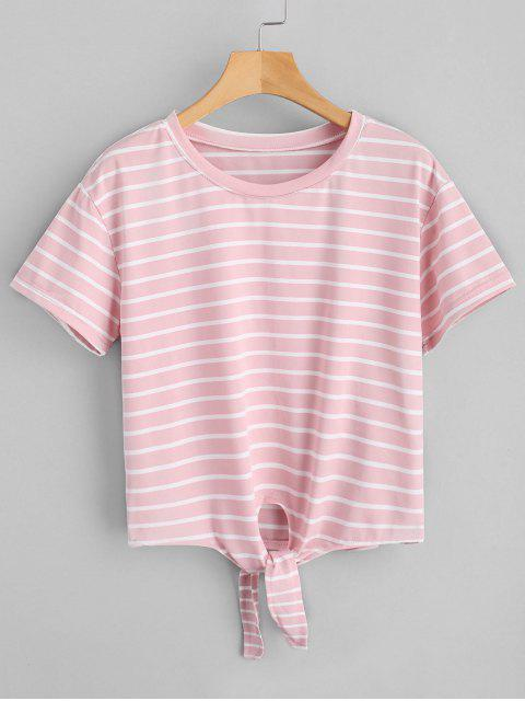 fancy Cropped Self Tied Stripes Top - PINK L Mobile
