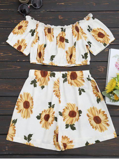 women Sunflower Off Shoulder Top and High Waisted Shorts Set - WHITE L Mobile