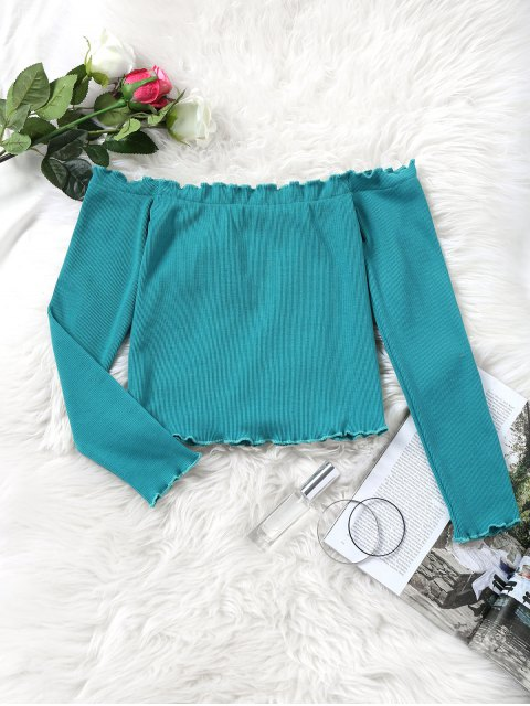 online Knitted Piped Off Shoulder Top - BLUE GREEN ONE SIZE Mobile