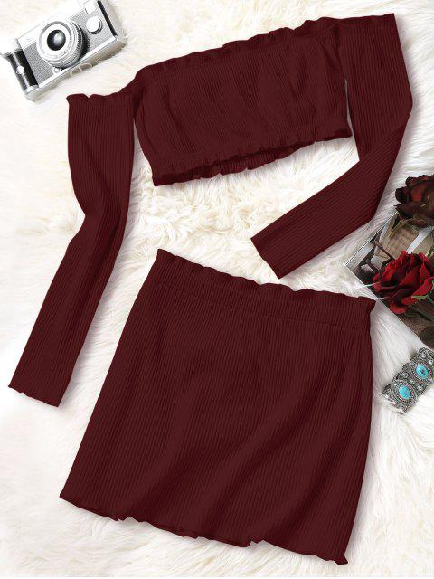 unique Knitted Cropped Off Shoulder Top and Bodycon Mini Skirt - WINE RED S Mobile