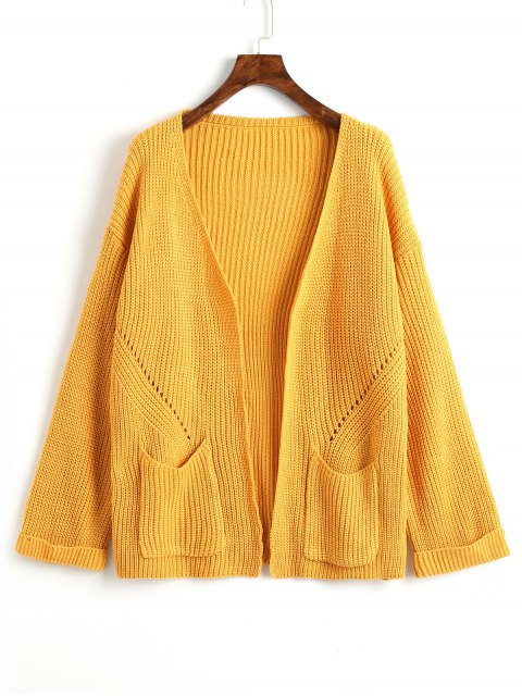 ladies Rolled Up Sleeve Open Front Cardigan - MUSTARD ONE SIZE Mobile