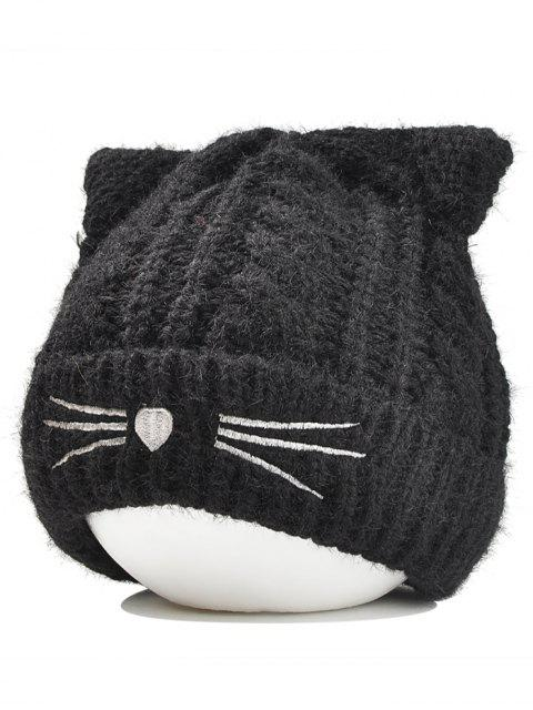 shop Cute Kitty Ear Decorated Crochet Knitted Beanie - BLACK  Mobile