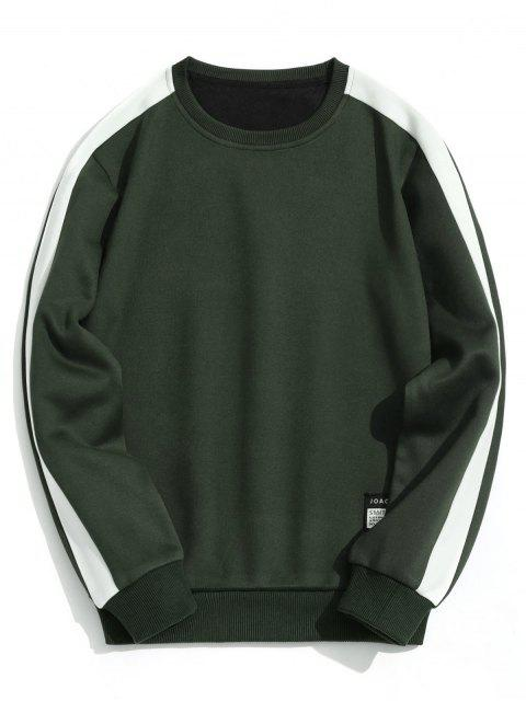 fancy Fleeced Two Tone Sweatshirt - ARMY GREEN L Mobile