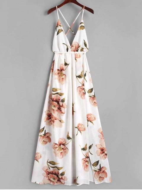 Robe Longue Croisée Florale à Fente - Blanc L Mobile
