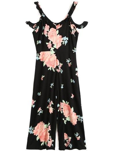 Floral Ruffles Cold Shoulder Jumpsuit - Black S