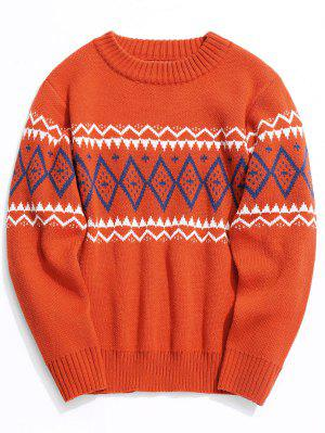 Intarsia Crew Neck Sweater