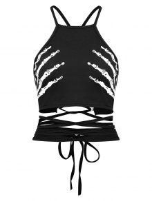 Skeleton Riemchen Criss Cross Tank Top - Schwarz Xl