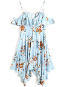 فستان ميدي باردة الكتف زر طباعة الأزهار - الضوء الأزرق M