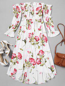 فستان ماكسي بلا اكتاف غير متماثل طباعة الأزهار - أبيض M