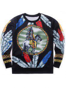 Indische Totem Hip-Hop-Stil Gedruckt Sweatshirt - 2xl