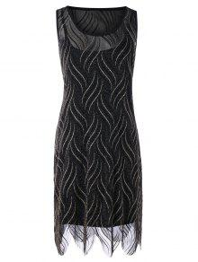 Vestido Glittery De Tamanho Desportivo - Preto 5xl