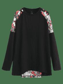 Malla Larga Transparente Paneles Negro De Camiseta De S Floral Semi 4nIw0Ex8d