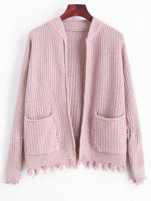 Ripped Hem Open Cardigan Mit Taschen - Pink
