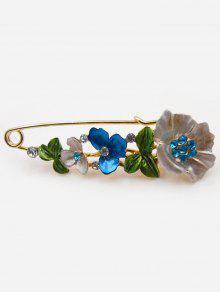 بروش دبوس بأزهار مزينة بالألماس المزيف - أزرق