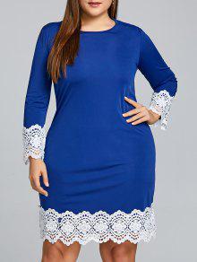 Robe Moulante à Empiècements En Crochet Et Grande Taille - Bleu Xl
