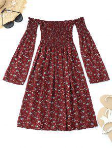 فستان مصغر بلا اكتاف سموكيد طباعة الأزهار - نبيذ أحمر Xl
