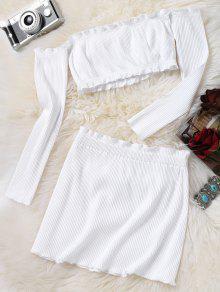 محبوك اقتصاص قبالة الكتف الأعلى و بوديكون البسيطة تنورة - أبيض S