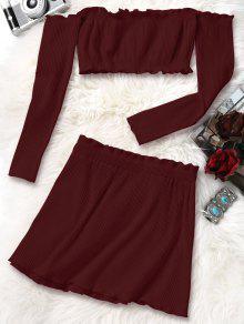 Minifalda Y Punto S De Bodycon Falda Con Rojo Vino Recortada qrt6wxr