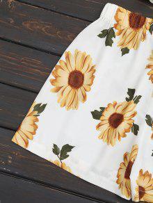 Hombros Pantalones Cortos Y Cortos Con Blanco S Alto Descubiertos De Pantalones Talle Sunflower EEpqfTx
