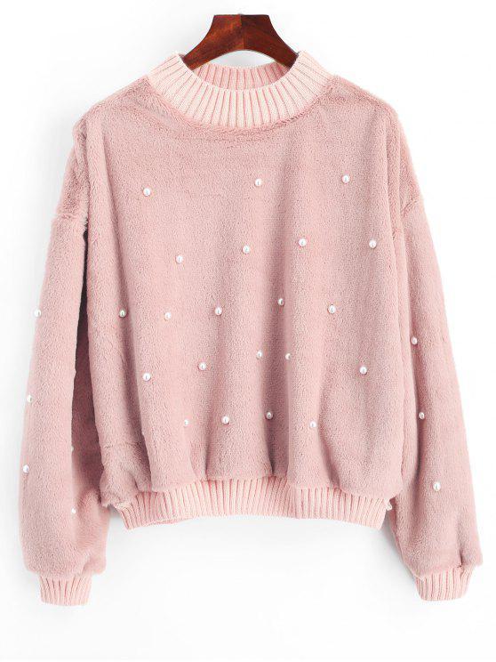 hot Beading Shearling Sweatshirt - LIGHT PINK S
