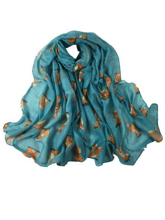 latest Cartoon Fox Decoration Silky Long Shawl Scarf - AZURE