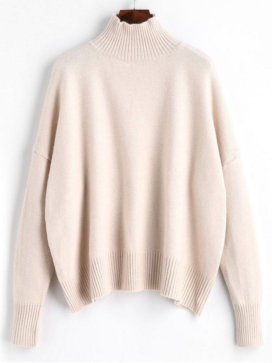 women's Ribbed Panel High Neck Sweater - APRICOT ONE SIZE