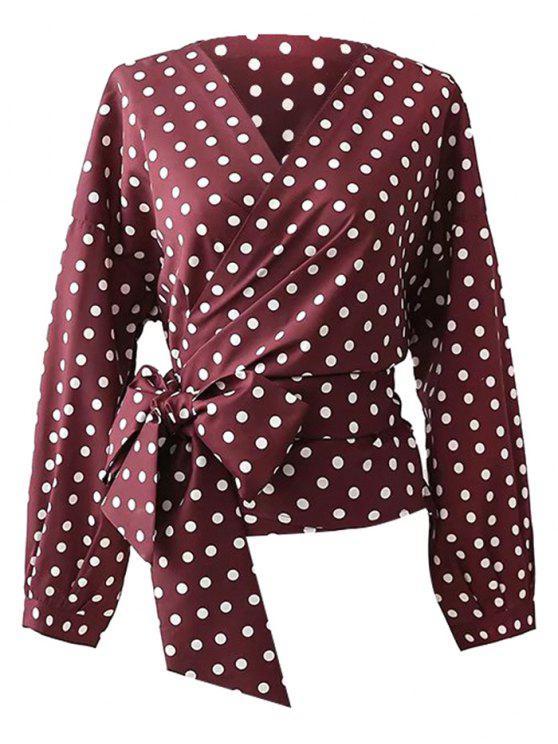 lady Polka Dot Wrap Blouse - PURPLISH RED S