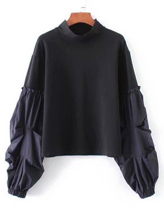 Lantern Ärmel Streifen Panel Sweatshirt - Schwarz M