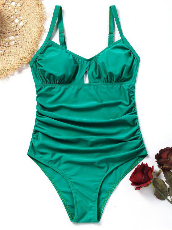cfd8872172635 15% OFF] 2019 Ruched Cut Out One-piece Swimsuit In LAKE GREEN   ZAFUL