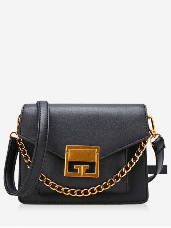 Cadeia de Metal Faux Leather Crossbody Bag - Preto