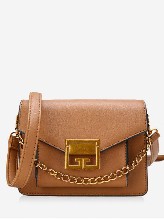 Cadeia de Metal Faux Leather Crossbody Bag - Marrom Claro