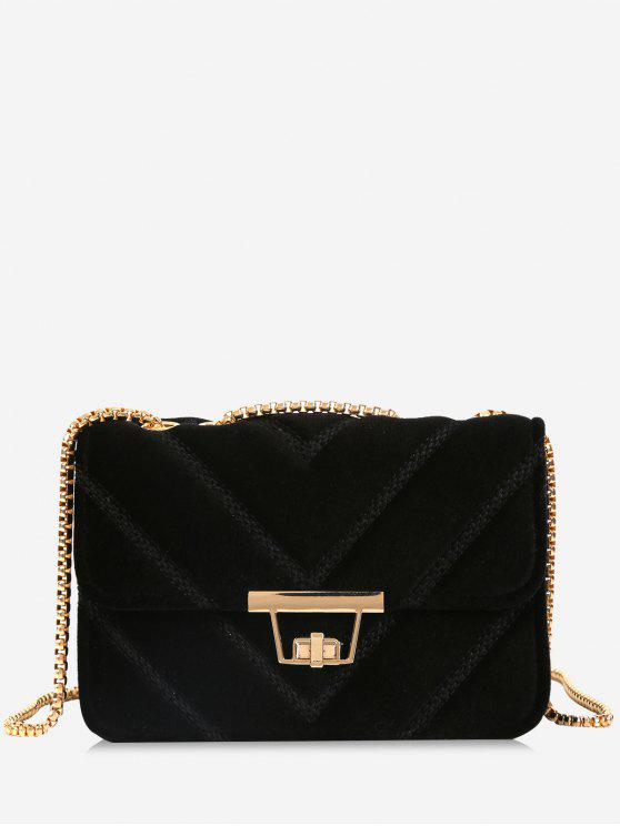 shop Stitching Quilted Chain Crossbody Bag - BLACK