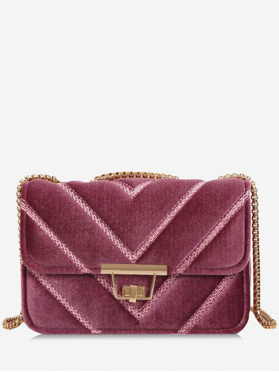 shops Stitching Quilted Chain Crossbody Bag - PINK