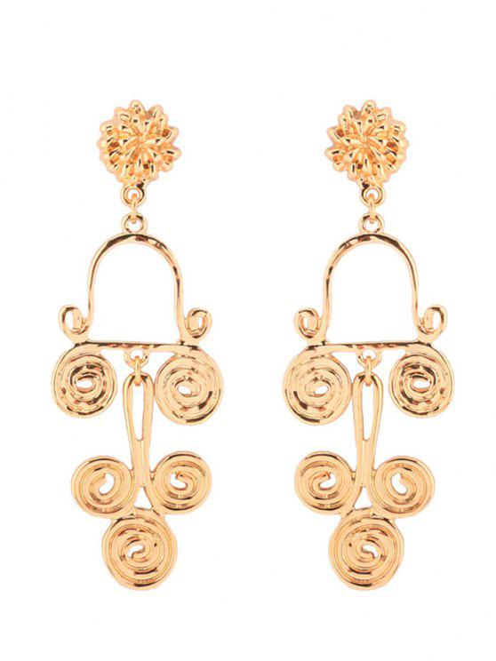 women's Antique Alloy Round Flower Earrings - GOLDEN