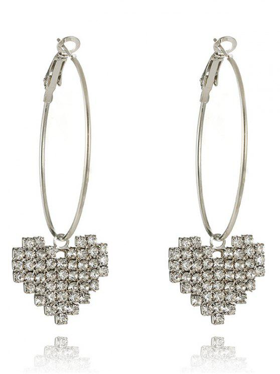 Best Sparkly Rhinestoned Heart Hoop Drop Earrings Silver