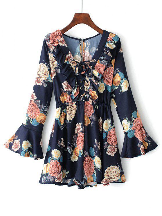 Floral Flare Sleeve Lace Up Romper - Azul Arroxeado L